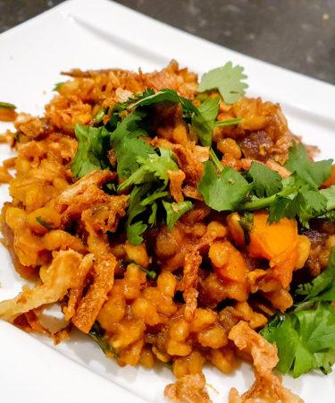 nasi met spelt en linzen